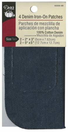 Denim Iron-On Patches Dark Blue