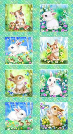 Bunny Meadows Children's Fabric Panel 24 x 44 Inches