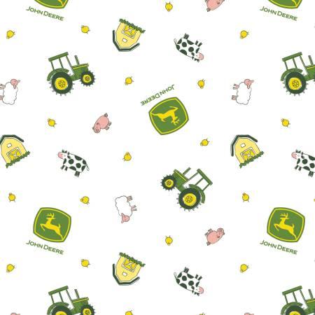 White Animal Toss | John Deere Fabric by Springs Creative