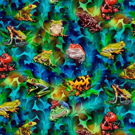 Cerulean Frog & Foliage Digitally Printed