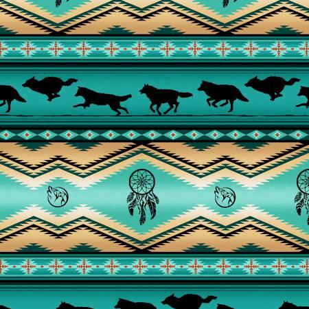 Turquoise Wolf Stripe 100% Cotton  42-44