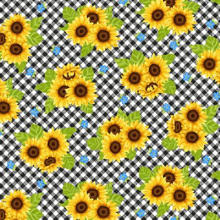 Sunny Sunflowers Multi Sunflowers on Gingham