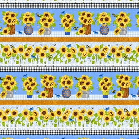 Sunny Sunflowers Multi Sunflower Border Stripe