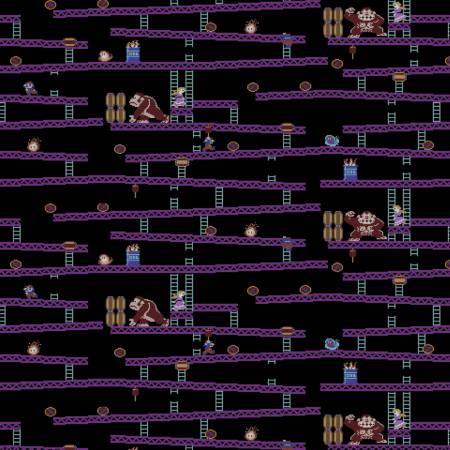 Nintendo Donkey Kong Fabric by the yard Jumpman's Ascent