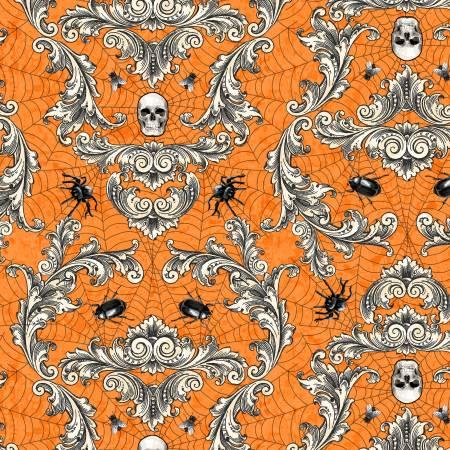 Gone Batty - Orange Creepy Crawly Damask