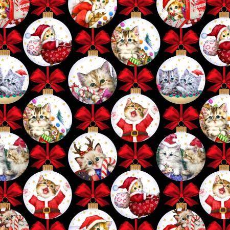 Kitten Christmas - Studio E Fabrics - Kitten Ornaments on Black