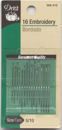 Dritz - Embroidery Needles - Sizes 5/10 - 16 ct