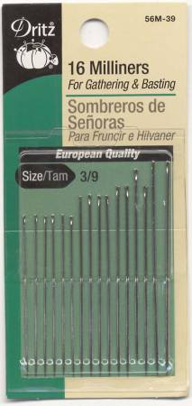 Milliners Needles Sizes 3/9 16ct