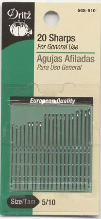 Prym Dritz Sharps Needles Assorted Sizes 5/10 20ct