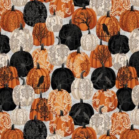 Spooky Night Black Damask Pumpkins