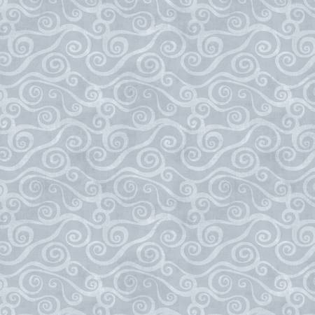 Quilt Back, 108, Flannel, Gray Swirly Scroll