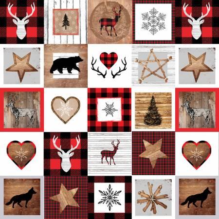 Warm Winter Wishes Multi 6in blocks of Rustic Winter Motifs