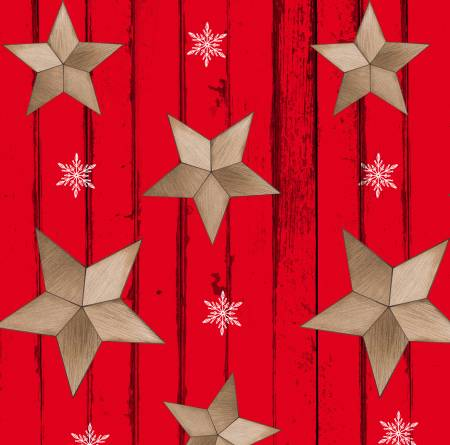 Warm Winter Wishes Red Wood Grain w/Tossed Stars