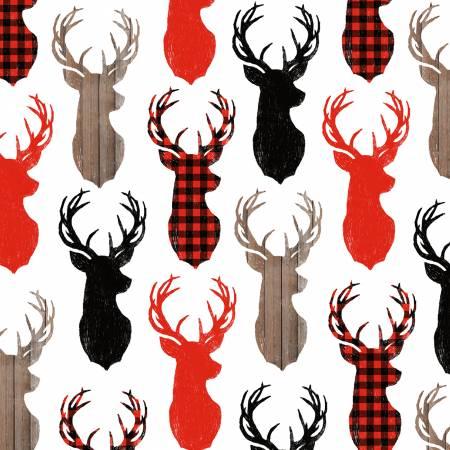 Warm Winter Wishes Multi Deer Heads Allover