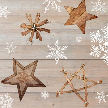 Warm Winter Wishes Light Brown Wood Grain w/Snowflakes & Stars