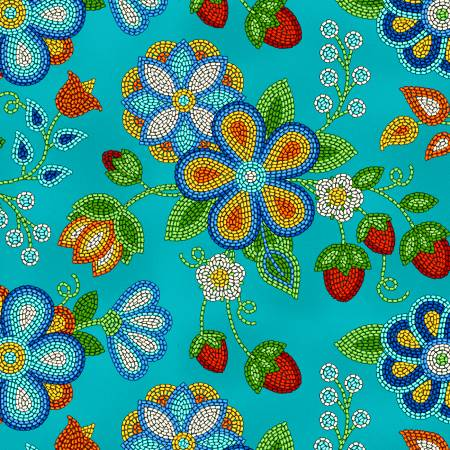 Tucson Beaded Strawberries Turquoise 100% Cotton  42-44