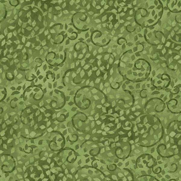 Green Viney Scroll 108in Wide