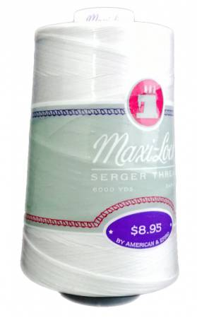 Maxi-Lock Polyester Serger Thread 50wt 6000yds White