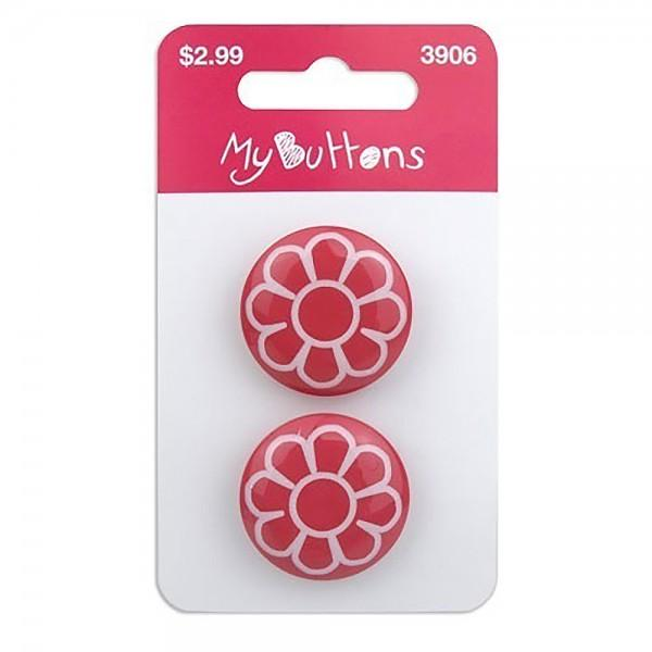My Buttons Printed Brights Cherry Flower 22mm