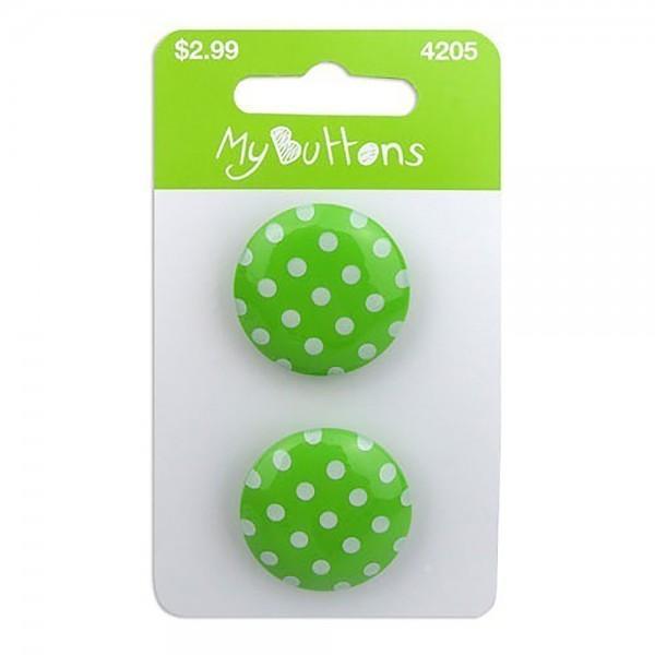 My Buttons Dots Light Green 22mm