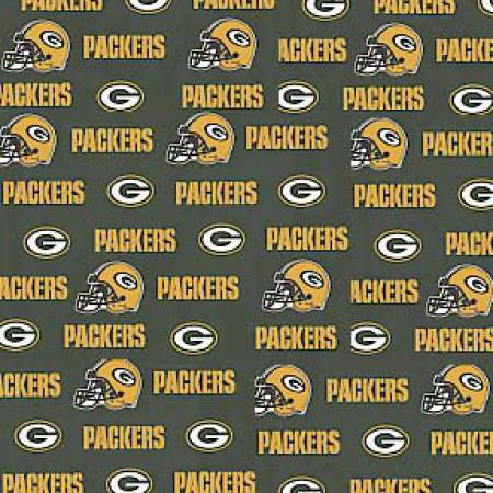 Licensed:  NFL Green Bay Packers logo on Green 58 wide by Fabric Traditions