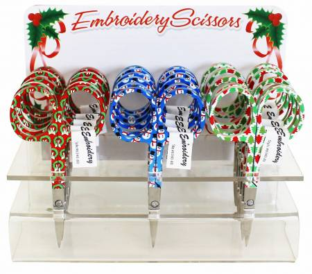 Holiday Scissors Embroidery In Acrylic Display