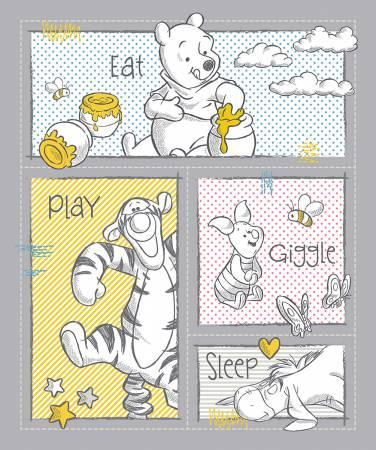 Disney Pooh Nursery Eat Play Giggle Sleep Panel