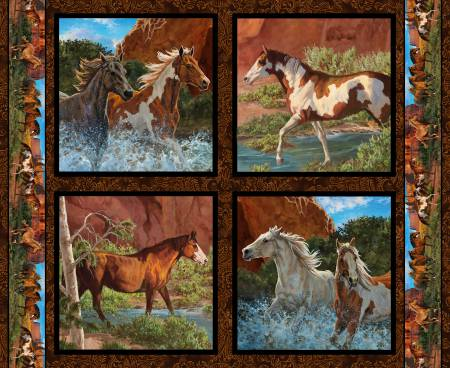 Wild Wings Rivers Edge Horses Pillow PANEL #341