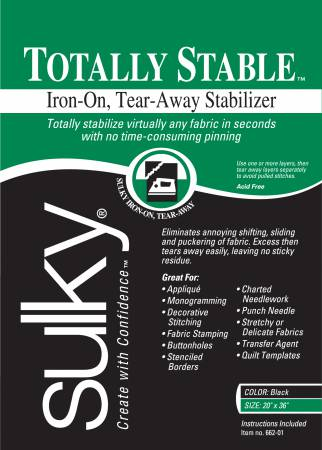 Sulky Totally Stable Stabilizer - Black - 20'' x 1 yd. Pkg.