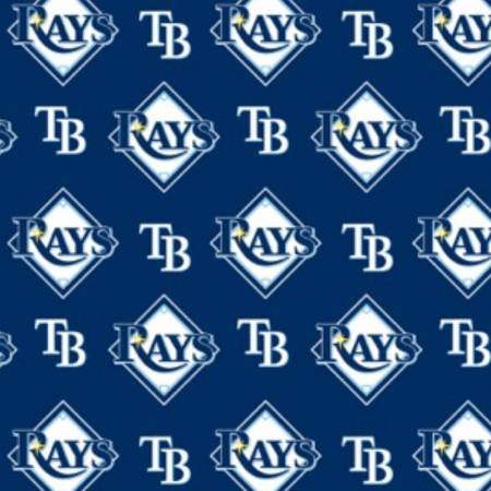 Licensed: MLB Tampa Bay Rays Logo on Navy Blue by Fabric Traditions, 58 wide