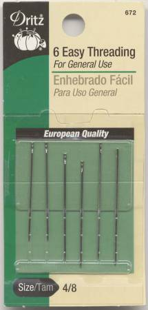 Dritz Self / Easy Threading Hand Needles Sizes 4/8 6ct