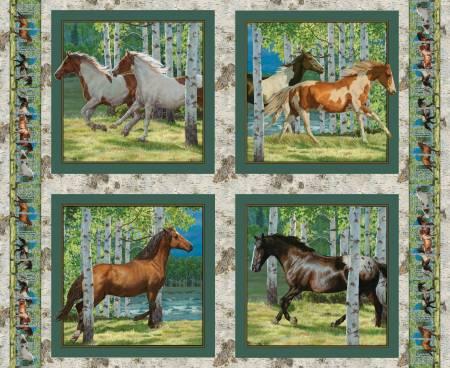 Horses Running Free Pillow Panel 36 X 44