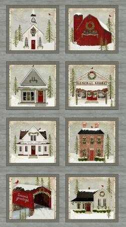 Multi Snow Village Panel Digitally Printed