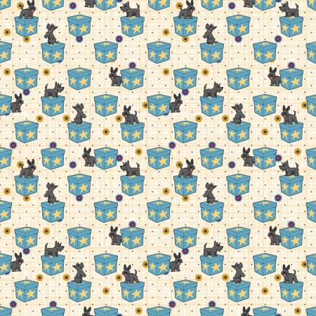 Scottie Dogs on Boxes Teal Fabric by the Yard