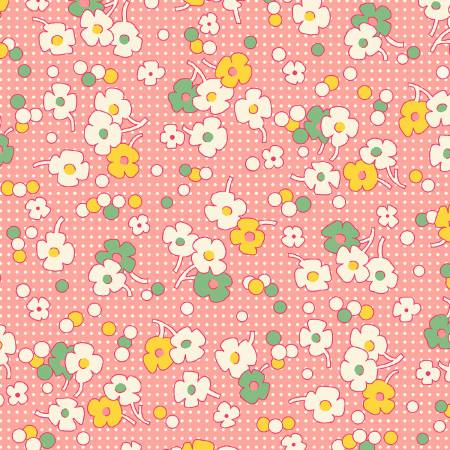 1930's REPRODUCTION  PINK FLORAL DOT