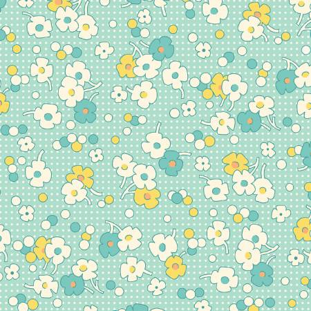 Nanamae II Aqua Floral Dot 1930's Reproduction