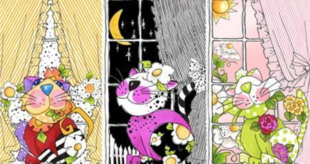 Multi Kitties in the Window Quilt Panel by Loralie Fabrics