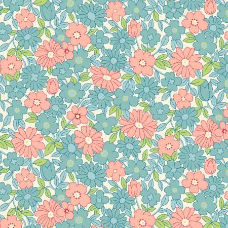 Nana Mae II Aqua/Pink Large Daisy 1930's  - 6922-12
