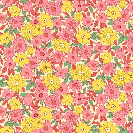 1930's REPRODUCTION  PINK/YELLOW LARGE DIASY
