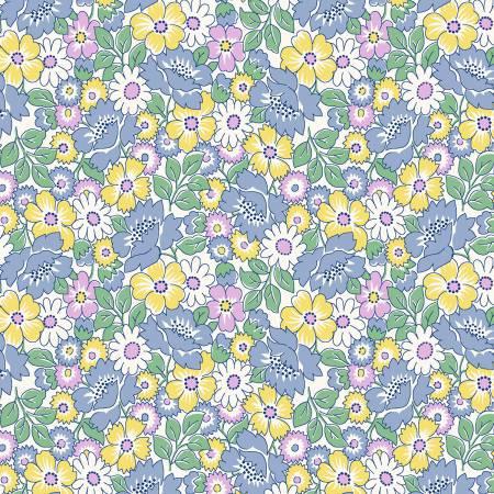 Nana Mae II Blue Packed Floral 1930's  - 6923-11
