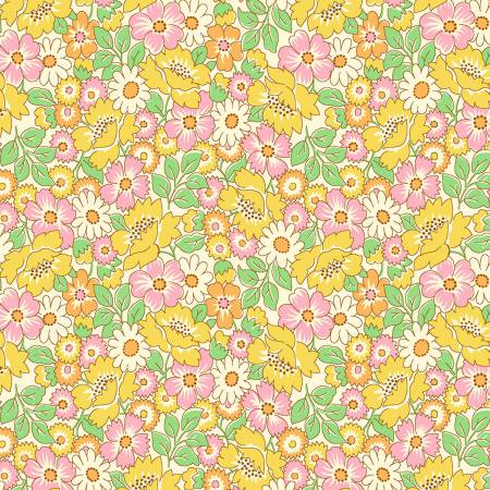 1930's REPRODUCTION  YELLOW PACKED FLORAL