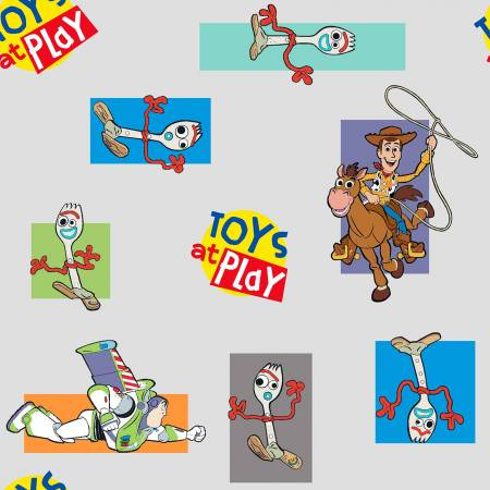 SPECIALTY FABRICS: Disney Toy Story 4 - Toys at Play with Forky on Gray by Springs Creative
