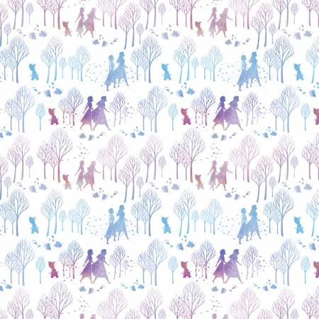 SPECIALTY FABRICS: Disney Frozen 2 Characters & Trees in Silhouette on White:  Frozen Character Silhouette by Springs Creative