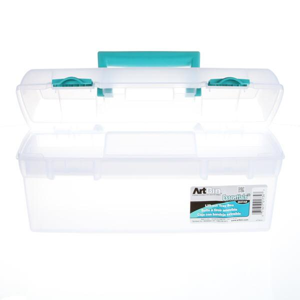 Essentials Trans Box Lift Out Tray Teal Latches and Handle 13 X 6 X 6 2/3 *