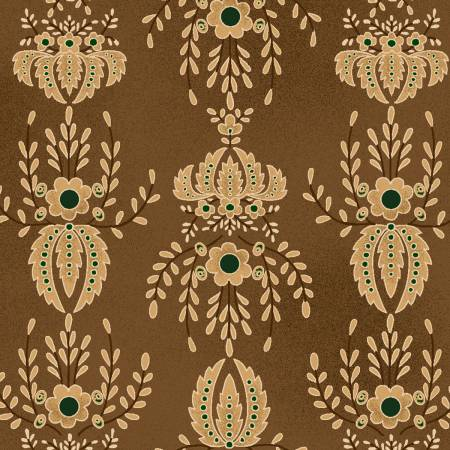 Hickory Flocked Wallpaper