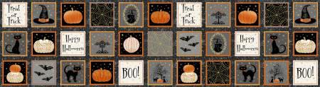 Midnight Spell 6947M-39 Black Small Halloween Blocks w/Metallic 1/3 Yard Panel