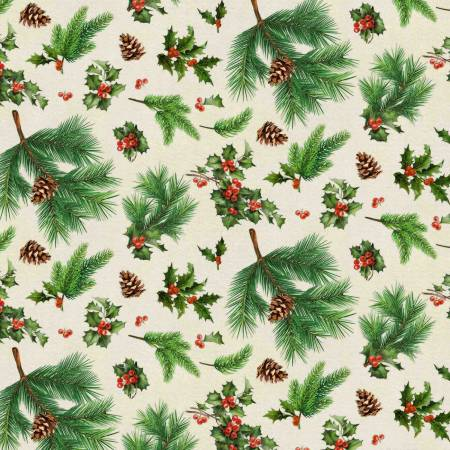 Christmas Merry Deer Holly 100% Cotton 42-44 Wide