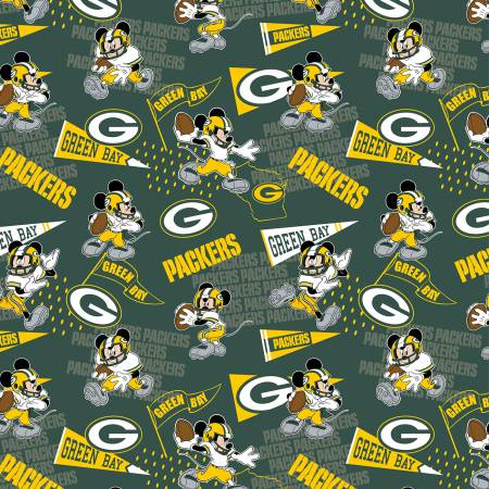 NFL Disney Mickey Green Pay Packers Cotton 70394