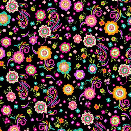*Black Flowers & Scroll WP102519