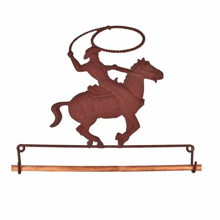 7-1/2in Rusty Tin Cowboy On Horse Fabric Holder - 70747